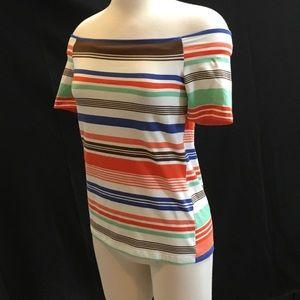 VENUS off the shoulder striped short sleeve shirt